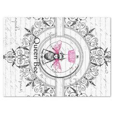 Pink Queen Bee Decoupage Tissue Paper