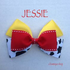 Up for your consideration is a custom made jessie hair bow.    The bow measures 5 inches wide and 3 inches tall. I will attach whichever clip you