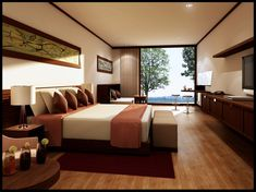 teen room, Modern Bedroom Design Ideas With Wooden Flooring With Bay Window With Brown Curtain With Large Bed And Pillow Plus Duvet Cover With Table Lamp On The Small Drawer Design For Bedroom Furniture Ideas: Astounding Bedroom Ideas for Small Room