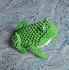 Grenouille verte en origami modulaire