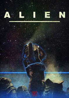 """"""" Alien tribute by Emilien Francois """" Alien 1979, Predator Movie, Predator Alien, Arte Alien, Alien Art, Sci Fi Horror, Arte Horror, Horror Films, Saga Alien"""