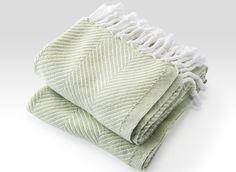 Cotton Herringbone Throw in White/Peridot