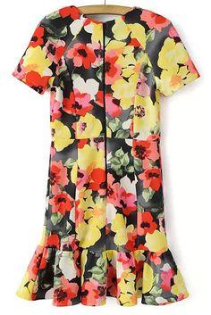 Short Sleeve Floral Print Pleated Dress 17.67