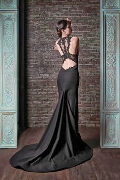 MIND BLOWN!!! Look at this gorgeous back. Cut-out sexy black dress. Lace. Perfect. MUST HAVE... Evening Dresses: Rami Kadi Le Gala Des Mystères Collection - Aisle Perfect
