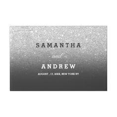 SIlver faux glitter grey black guest wedding Guest Book