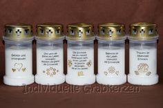 Kerzen - 5 Individuelle Grabkerzen Gold Serie 2 Grablicht - ein Designerstück von individuelle-grabkerzen bei DaWanda