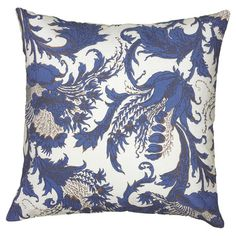 Add a pop of color to your living room sofa or guest bedding with this lovely pillow, featuring a scrolling floral design in navy.   Pro...