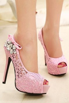 Pink Lace Glam Heels