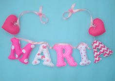 Girl's room fabric name banner  Pink White  by LittleFairyCottage