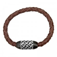 Stainless Steel Unique Brown Leather Bracelet