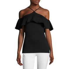 Susana Monaco Women's Amelia Overlay Blouse - Black, Size L ($59) ❤ liked on Polyvore featuring tops, blouses, black, spaghetti strap blouse, special occasion tops, halter-neck tops, special occasion blouses and evening blouses