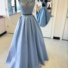 2018 High Fashion Two-Piece A-Line Blue Satin Long Prom Dress with Lace , Fashion Gown. PDY0186