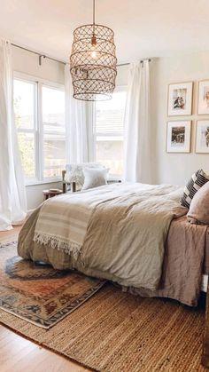 Room Decor Bedroom, Bedroom Ideas, Bedroom Rugs, Bedroom Styles, Neutral Bedroom Curtains, Layered Rugs Bedroom, Garden Bedroom, Bedroom Makeovers, Budget Bedroom