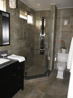 Find ideas and inspiration for Basement Bathroom to add to your own home.Basement bathroom ideas, Small bathroom ideas and Small master bathroom ideas. Small Basement Bathroom, Add A Bathroom, Bathroom Plans, Downstairs Bathroom, Bathroom Renos, Bathroom Layout, Bathroom Flooring, Bathroom Storage, Cabin Bathrooms