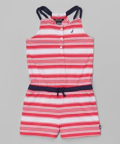 Love this Nautica Magenta Stripe Romper - Girls by Nautica on #zulily! #zulilyfinds