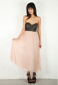 leather bustier with blush accordion skirt
