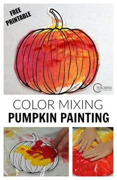 No Mess Pumpkin Art with Free Printable Looking for a last-minute fall activity for your toddlers and preschoolers? This no-mess pumpkin painting is a fun color mixing activity that you can set up in minutes! From Teaching 2 and 3 Year Olds Halloween Tags, Theme Halloween, Halloween Crafts For Kids, Fall Crafts For Preschoolers, Scary Halloween, Crafts For 3 Year Olds, Two Year Old Crafts, Halloween Art Projects, Christmas Crafts