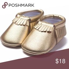 Gold cute moccasins Your cute gold moccasins size 3 super cute for your cutie, let me know what size you would like 3-6 months size Shoes