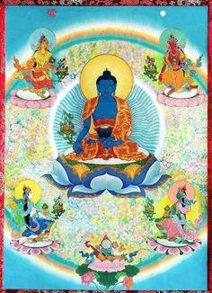Medicine Buddha with 4 Healing Dakinis