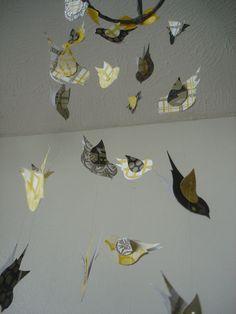Neutral Grey Yellow Black Paper Flying Birds Hanging Mobile Nursery Kids Room. $
