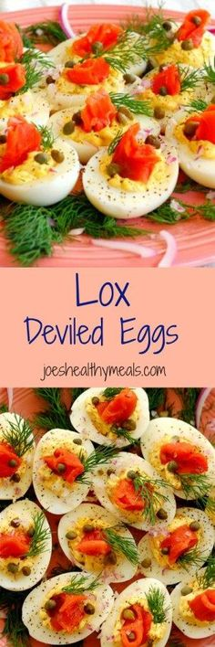 Lox deviled eggs collage.  This is a delicious twist to traditional deviled eggs.  The recipe has plenty of smoked salmon flavor, combined with salty capers and tangy red onion. With cream cheese and fresh dill, it is yummy! | http://joeshealthymeals.com