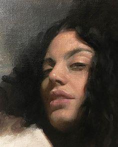 Nick Alm (Swedish, b. 1985), oil on canvas {figurative art beautiful female head woman face portrait painting in progress #loveart #2good2btrue} nickalm.com