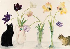Black Cat, Abyssinian Cat and Tulips, Elizabeth Blackadder. English, born in 1931 - Pencil and Watercolor -