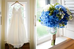 Blue hydrangea summer bouquet with green and white flowers by Heavenly Hydrangeas/Photography by Mandi