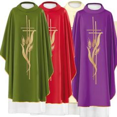 Chasuble in 80% polyester 20% wool, cross and ears of wheat | online sales on HOLYART