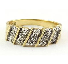 RESERVED 10K Yellow & White Gold band Ring with 5 Diamonds
