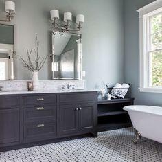 Small Bathroom Color Schemes Design, Pictures, Remodel, Decor and Ideas - page 2 Grey Bathroom Cabinets, Gray Bathroom Walls, Painting Bathroom Cabinets, Grey Bathroom Vanity, Gray Vanity, Bathroom Paint Colors, Grey Cabinets, Grey Bathrooms, Bathroom Vanities