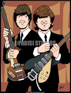 Illustration of John & Paul Beatles Art, The Beatles, Framed Canvas Prints, Canvas Frame, Lennon And Mccartney, Tom Petty, The Fab Four, Fine Art Photo