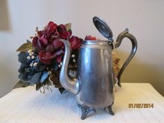 Vintage Silver Tea Pot, Serving Vessel, Kitchen ware, Flower Pot, by chulapoe on Etsy