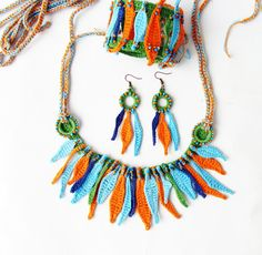 Boho textile fiber necklace bracelet earrings set by zolayka