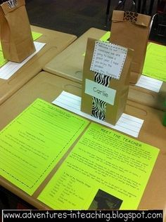 This is a great way to greet the students on the first day.  The teacher gives each student a Meet the Teacher page and a goodie bag.  There is also a student info sheet on each desk.  This could be a great first assignment for students to begin working on as soon as they enter the room.