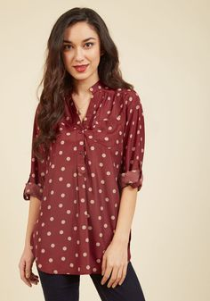 Hosting for the Weekend Tunic in Merlot. Celebrate your family's arrival while sporting the tan polka dots on this chic maroon top! #red #modcloth