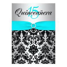 PRINTED RIBBON Aqua Silver Black Quinceanera 5x7 Paper Invitation Card