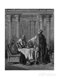 Esther BC) before her husband King Ahasuerus (Xerxes I?) of Persia denouncing Haman as the enemy who would have her and her people, the Jews, killed. Esther From Gustave Dore's illustrated Bible Wood engraving. Story Of Esther, Book Of Esther, Prayer Crafts, Bible Story Crafts, Gustave Dore, Queen Esther Bible, Xerxes I, Bible Commentary, Bible