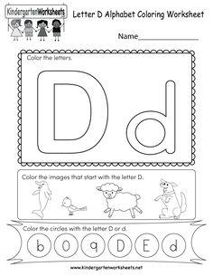 best letter d worksheet images  preschool preschool activities  letter d coloring worksheet  free kindergarten english worksheet for kids