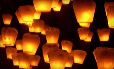 Floating Chinese sky lanterns. Perfect for a Rapunzel party.