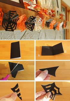 If you're looking for a simple DIY Halloween decor idea to try with the kids t. If you're looking for a simple DIY Halloween decor idea to try with the kids this year (one that Diy Halloween Party, Moldes Halloween, Halloween Decorations For Kids, Manualidades Halloween, Adornos Halloween, Homemade Halloween, Holidays Halloween, Halloween Recipe, Diy Halloween Garland