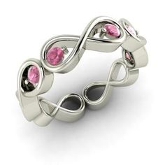Round Pink Tourmaline Ring in 14k White Gold