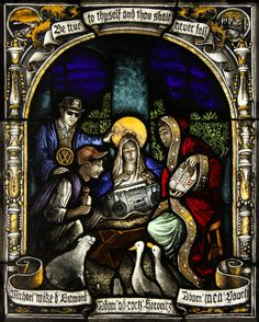 """Adoration of the Magi"" stained glass panel depicting the Beastie Boys, by Chris Roth, Los Angeles, CA"