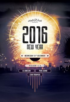 New Year Flyer Template (Buy PSD file - $9) Celebrate the new year with this luminous poster design. #print #designs #party