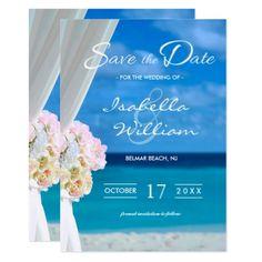 Elegant Floral Beach Save the Date Invitation - wedding invitations diy cyo special idea personalize card