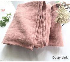 Dusty Pink Natural Linen Blanket with Fringe