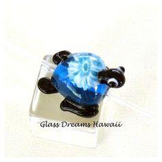 Glass Turtle (Honu) Bead, Handmade Lampwork Beads, Hawaii Lampwork Glass, Honu with Heart, Handmade Turtle Bead, Tiny Glass Sculpture found on Polyvore
