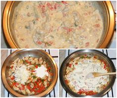 Pui cu legume in sos alb Cheeseburger Chowder, Curry, Pizza, Soup, Ethnic Recipes, Curries, Soups