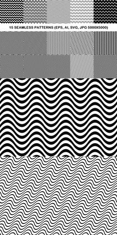 15 Seamless Wave Line Patterns Black And White Background, Geometric Background, Pattern Background, Graphic Design Pattern, Graphic Patterns, Square Patterns, Line Patterns, Circle Pattern, Wave Pattern