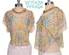 Vintage 70s White Sheer Sequin Beaded Crop Top Butterfly Blouse by VINTAZIAVintage
